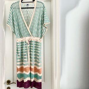 M Missoni Multi Crochet Knit V-Neck Belted Dress in size 42/44